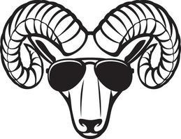 Ram head with aviator sunglasses vector