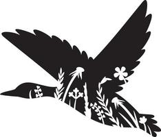Floral flying mallard duck vector