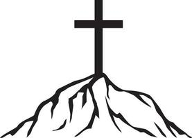 Cross and mountain vector