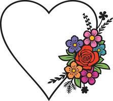 Floral heart color vector