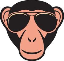 Monkey with aviator sunglasses vector