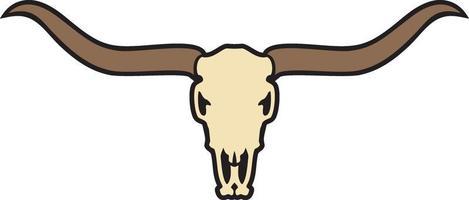 Longhorn skull color vector