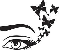 ojo de mujer y mariposa vector