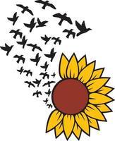 Sunflower with Birds vector