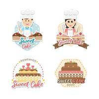 Diseño de etiquetas de panadería dulce y pan para tienda de dulces. vector