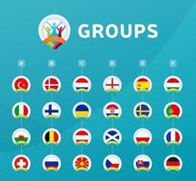 Football 2020 tournament final stage groups vector stock illustration 2020 European soccer tournament with background Vector country flags