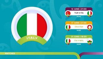calendario de partidos de la selección de italia en la etapa final en el campeonato de fútbol de 2020 ilustración vectorial de partidos de fútbol de 2020 vector