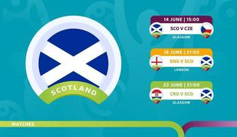 scotland national team Schedule matches in the final stage at the 2020 Football Championship vector