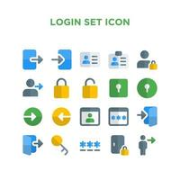 Login Set Icon Pixel Perfect vector