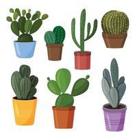 un conjunto de cactus en macetas imagen vectorial en un estilo plano una colorida colección de cactus de interior vector