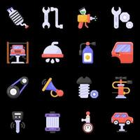 Auto Workshop and Car Wash Service icons vector