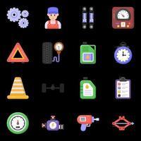iconos de mantenimiento y reparación de automóviles vector