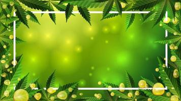 Frame of green cannabis leaves. Template frame decorated with cannabis leaves on green blurred background with cannabis leafs, and CBD oil gold bubbles vector