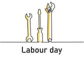 Single continuous line art screwdriver, wrench, spanner with lettering Labour Day. 1st May celebration. Happy Labour Day concept isolated on white background. Vector repair tools sketch illustration