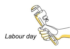 One continuous line drawing of the master's hand holds a wrench with lettering Labour Day isolated on white background.  1st may celebration. Auto service concept. Vector illustration