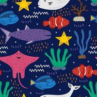 Seamless pattern with clownfish, blue tang fish, beluga whale, whale shark, spotted eagle ray. Childish texture for fabric, textile, apparel. Vector illustration on navy blue background