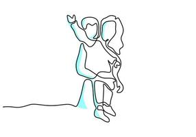 Continuous one line drawing of young mother hold her baby. Happy Mother day card. A happy mom with her child playing together at home. Happy parenting concept. Vector illustration on white background