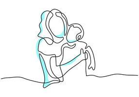 dibujo continuo de una línea de la joven madre sosteniendo a su bebé. tarjeta del día de la madre feliz. una mamá feliz con su hijo jugando juntos en casa. concepto de crianza feliz. Ilustración vectorial sobre fondo blanco vector