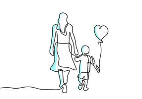 Continuous one line drawing of young mother hold her baby with air balloons shaped as heart. Happy Mother day card. Family parenthood concept. Character mom with a kid. Vector illustration