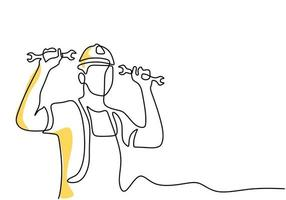 One continuous single line drawing of young man mechanic wearing hard hat and holding wrench set. Professional work job occupation minimalist concept. Happy Labour Day. Vector illustration