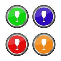 Buttons With Wine Glass icon vector