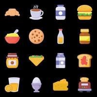 Breakfast and Food icons vector