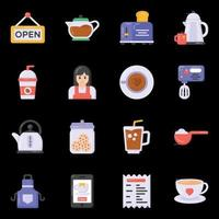 Cafe Equipment and Drink icons vector