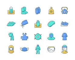 Medical PPE RGB color icons set vector