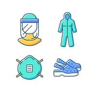 Medical equipment RGB color icons set vector