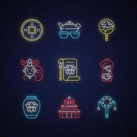 Chinese traditions neon light icons set vector