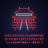 The Forbidden City neon light icon vector