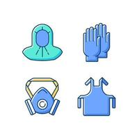 Protective medical equipment RGB color icons set vector