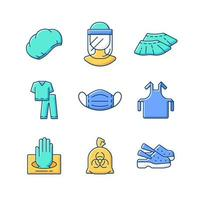 Disposable medical uniform RGB color icons set vector