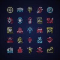 China neon light icons set vector
