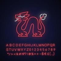 Loong dragon neon light icon vector