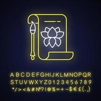 Chinese calligraphy neon light icon vector