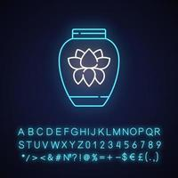 Chinese porcelain neon light icon vector