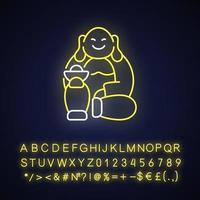 Laughing Buddha neon light icon vector