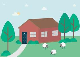 Rural landscape with a house trees and sheep in the countryside Vector flat concept illustration