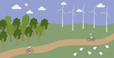 Countryside landscape with wind turbines and cycling people Concept vector illustration