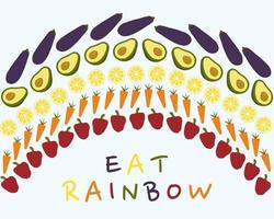 Vector rainbow made from vegetables Multi cored food Healthy diet illustration
