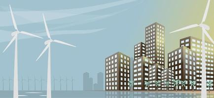Eco urban city landscape with windmills buildings and palm trees Concept vector illustration banner
