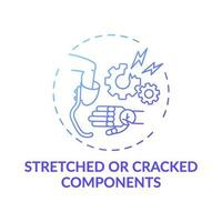 Icono de concepto de componentes estirados y agrietados vector
