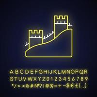 The Great Wall neon light icon vector