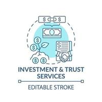 icono de concepto de servicios de inversión y fideicomiso vector
