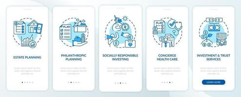 Prosperity advisory duties onboarding mobile app page screen with concepts vector