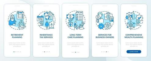 Prosperity management duties onboarding mobile app page screen with concepts vector