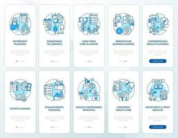 Prosperity strategy onboarding mobile app page screen with concepts set vector