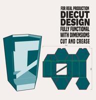 Caja hexagonal troquelada con tapa superior empotrada Diseño de línea hexagonal listo para imprimir y trabajar con cartón real vector