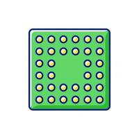 icono de color rgb de socket de cpu vector